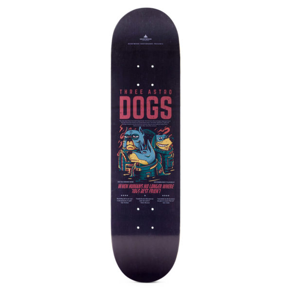 "Heartwood Skateboards - Astro Dogs 8.0"" deck only"